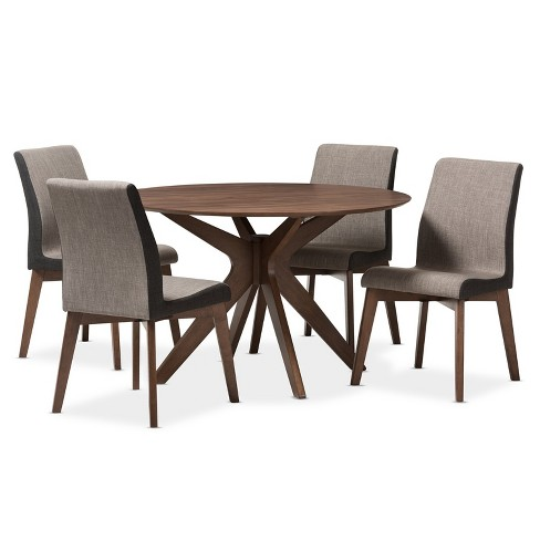 0b3c8d570e05 5pc Kimberly Mid Century Modern Walnut Finished Wood Round Dining Set Brown  - Baxton Studio   Target
