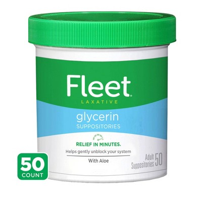 Fleet Laxative Glycerin Suppositories for Adult Constipation - 50ct
