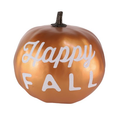 Large Harvest Happy Fall Pumpkin Metallic Copper