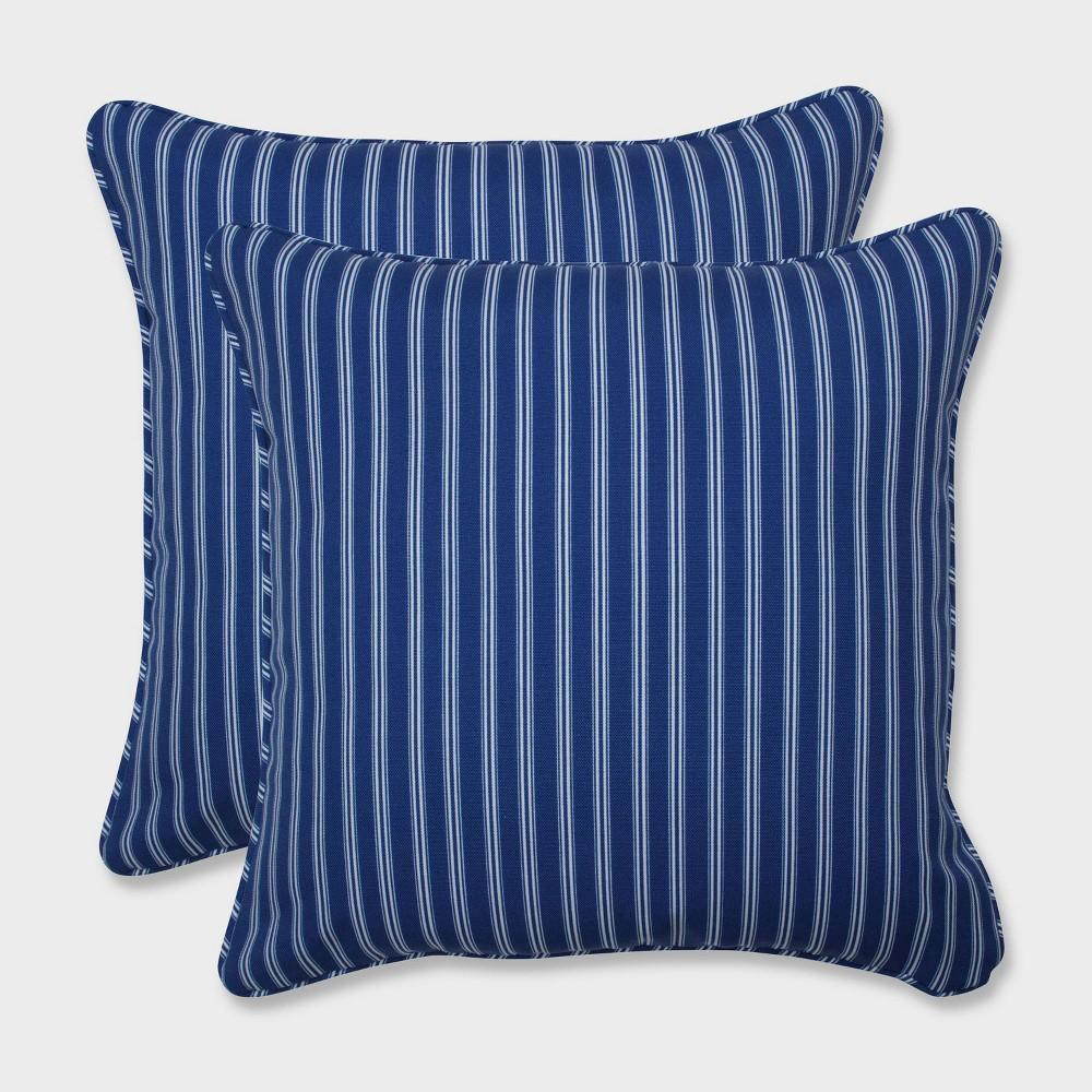 16.5 2pk Resort Stripe Throw Pillows Blue - Pillow Perfect