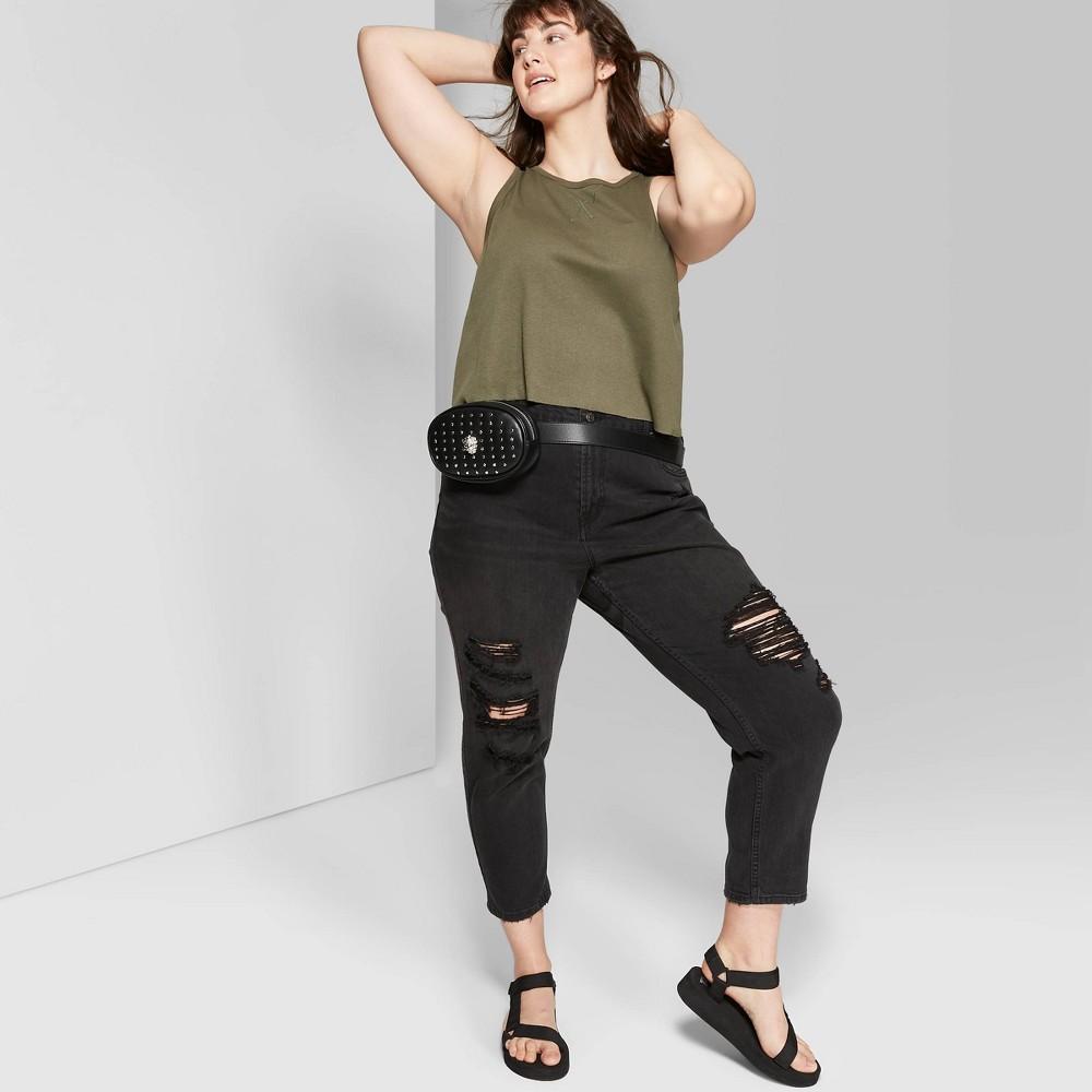 aa86f8cdadf Womens Plus Size Crewneck Cutoff Boxy Tank Top Wild Fable Olive 1X Green