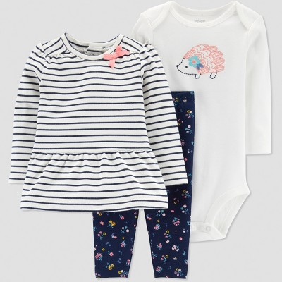 Baby Girls' Navy Stripe 3pc Set - Just One You® made by carter's Blue Newborn