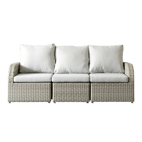 Brisbane 3pc Resin Wicker Sofa Patio with Weather Resistant Fabric - CorLiving - image 1 of 6