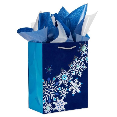 Large Papyrus Christmas Snowflake Dazzle Tissue Paper Blue and White Pearl - image 1 of 3