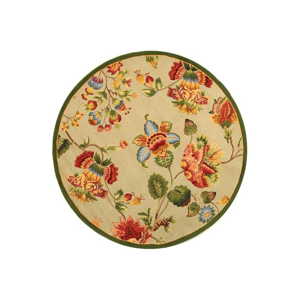 4' Floral Hooked Round Area Rug Sage (Green) - Safavieh
