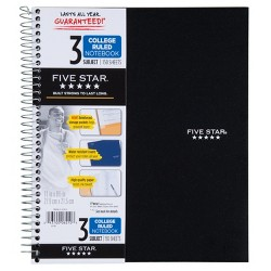 Spiral Notebook 3 Subject College Ruled - Five Star