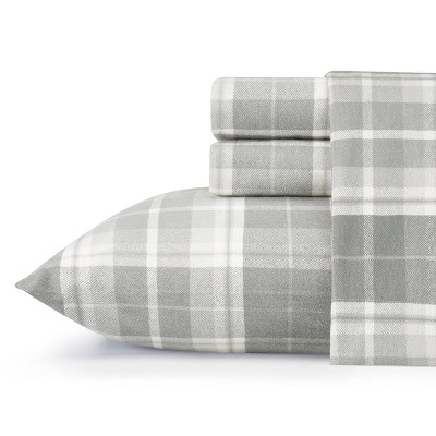Laura Ashley Mulholland Plaid Flannel Sheet Set Queen - Gray