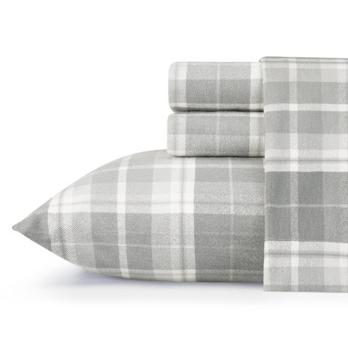 Laura Ashley Mulholland Plaid Flannel Sheet Set Queen - Gray - image 1 of 3