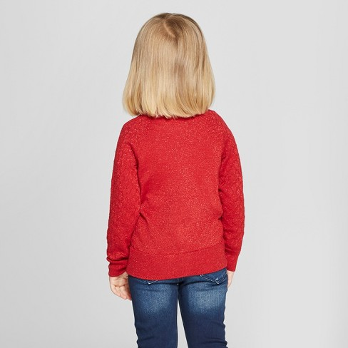 1b8ddb18ca27 Toddler Girls  Cardigan - Cat   Jack™ Red Sparkle   Target