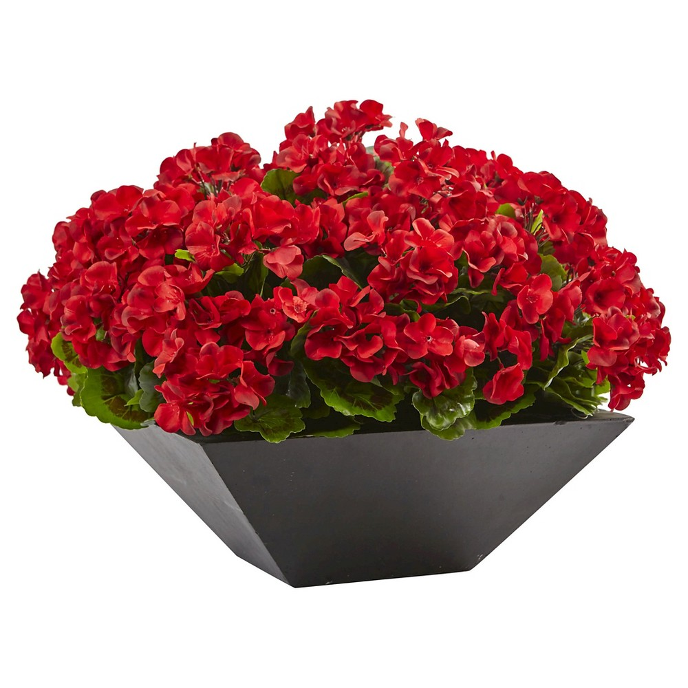Image of 15 Geranium with Black Planter UV Resistant (Indoor/Outdoor) - Nearly Natural, Red