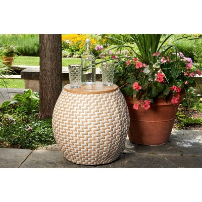 Amelia Chevron Outdoor Side Table with Storage - Haven Way