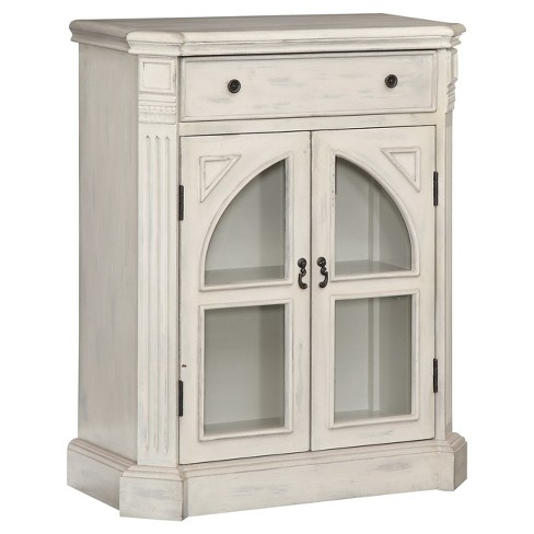Cathedral Glass Door Cabinet White Treasure Trove Target