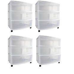 Sterilite 29308002 Home 3 Drawer Wide Storage Cart Container w/ Casters (4 Pack)