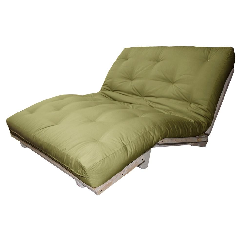 6 Austin True Cotton/Foam Sit, Lounge, or Sleep Futon Sofa Sleeper Bed Suede Fabric Light Olive - Epic Furnishings