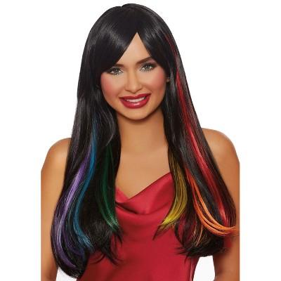 Dreamgirl Long Straight Hidden Rainbow Wig (Black)