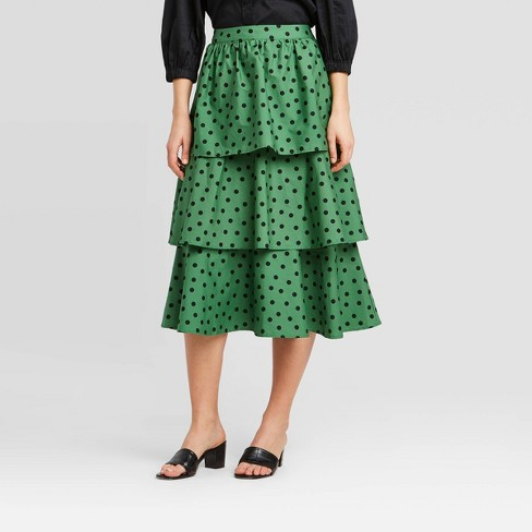 Women's Polka Dot Mid-Rise Tiered Ruffle Midi Skirt - Who What Wear™ Green 6 - image 1 of 3