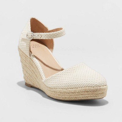Women's Olivia Rounded Toe Espadrille Wedge Pumps - A New Day™ Cream 8.5