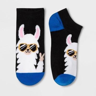 Women's Sparkly Groovy Llama Low Cut Socks - Xhilaration™ Black 4-10