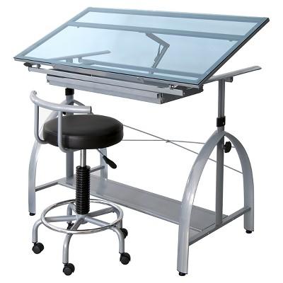 Avanta Table - Silver/Blue Glass