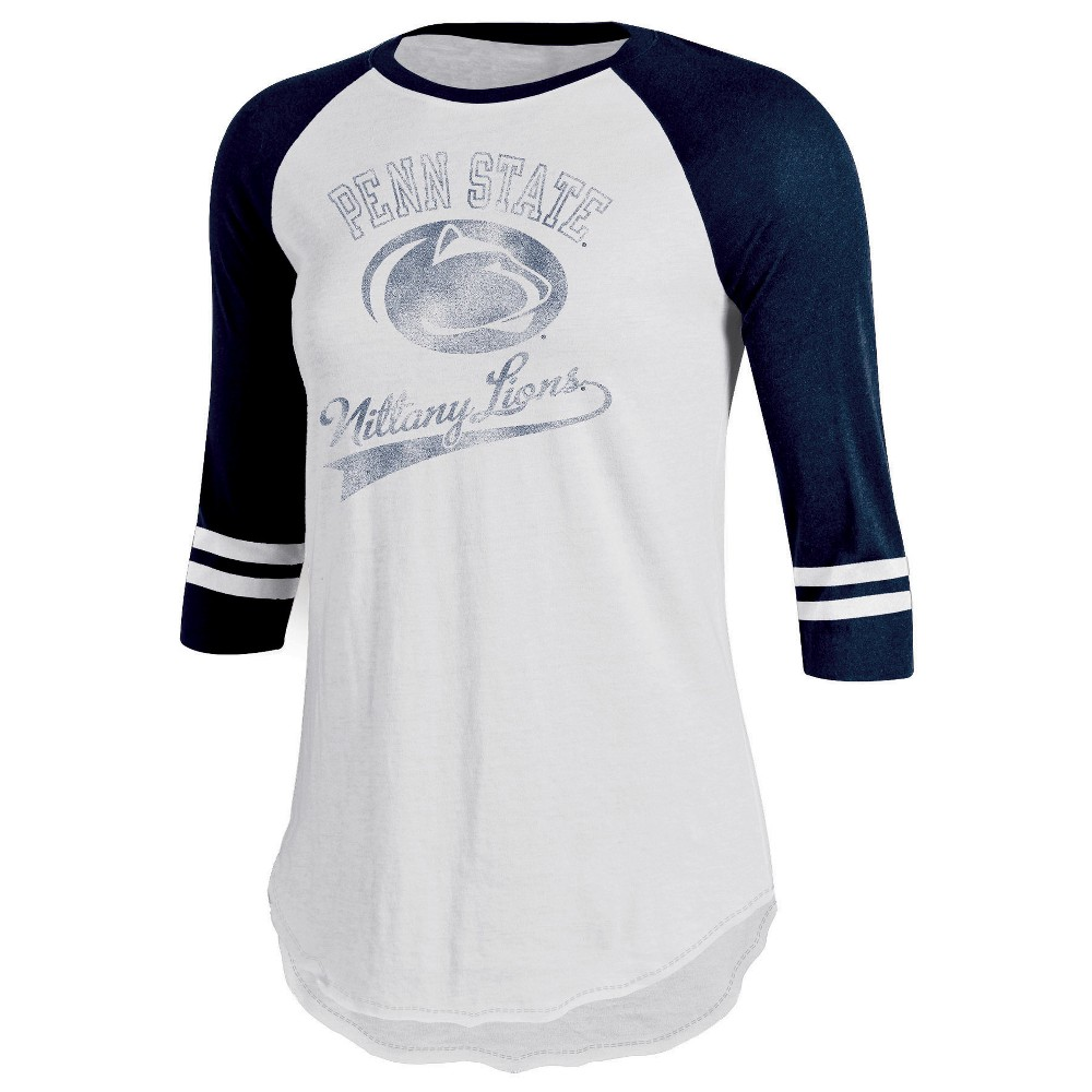 Penn State Nittany Lions Women's Retro Tailgate White/3/4 Sleeve T-Shirt M, Multicolored