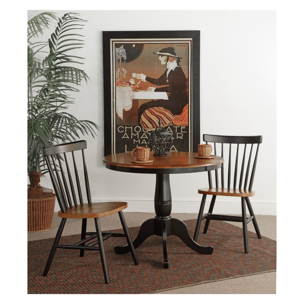 36 Set of 3 Round Pedestal Dining Table with 2 Copenhagen Chairs Black - International Concepts