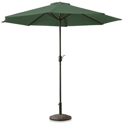 CASTLECREEK 9 Foot Market Outdoor Push Button Tilt Patio Umbrella with Polyester Fabric, Crank Open System, and 8 Steel Ribs, Hunter Green