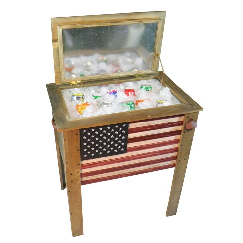 57 Qt Wooden Flag Cooler Backyard Expressions - image 1 of 2