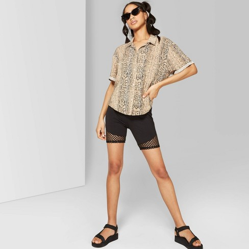 899a66a493 Women's High-Rise Mesh Detail Bike Shorts - Wild Fable™ Black