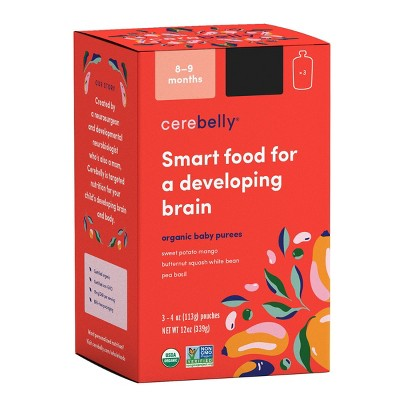 Cerebelly Clean Label Project Purity Award Winning, 8-9 Months Organic Baby Food  Variety pk