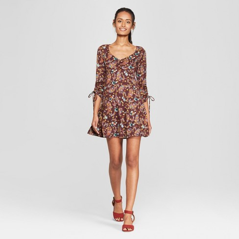 499f368fe809 Women s Floral Print Long Sleeve Ruched Front Hacci Knit Dress - 3Hearts  (Juniors ) Purple