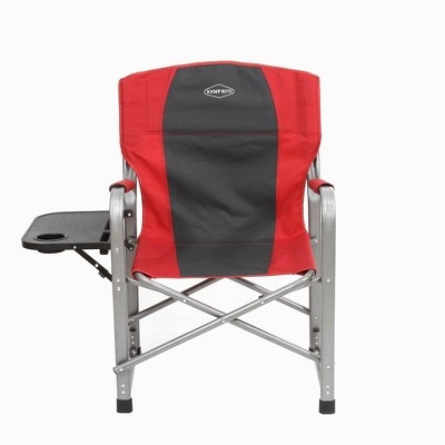 Kamp-Rite Outdoor Camping Tailgating Folding Director's Chair w/ Side Table, Red