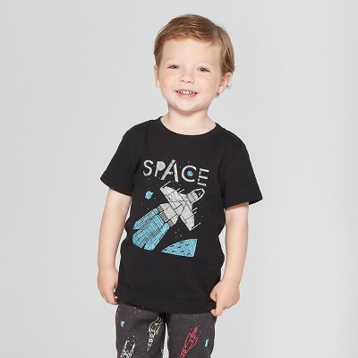 Toddler Boys' Space Made with Spaceship Parts Short Sleeve T-Shirt - Cat & Jack™ Black 12M