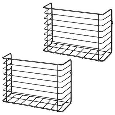 mDesign Metal Wall & Cabinet Door Mount Kitchen Storage Basket, 2 Pack
