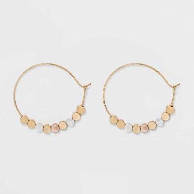 Brass beads Hoop Earrings - Universal Thread™ Gold