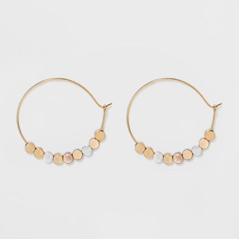 Brass beads Hoop Earrings - Universal Thread™ Gold - image 1 of 2