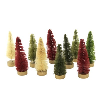 "Christmas 2.75"" Mini Bottle Brush Trees Home Decor Red Green White  -  Decorative Figurines"