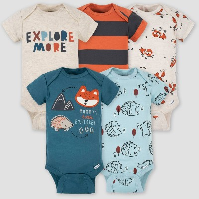 Gerber Baby Boys' 5pk Fox Short Sleeve Onesies - Blue 3-6M
