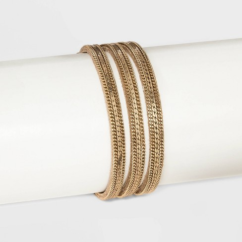 Simulated Suede with Chain Overlay Magnetic Bracelet - Universal Thread™ Gold - image 1 of 1