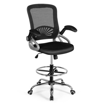 Costway Mesh Drafting Chair Mid Back Office Chair Adjustable Height Flip-Up Arm Black