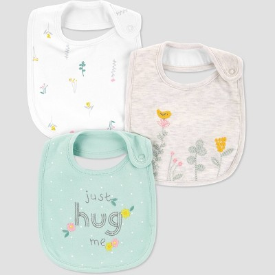 Baby Girls' 3pk Hug Bib - Just One You® made by carter's Mint One Size