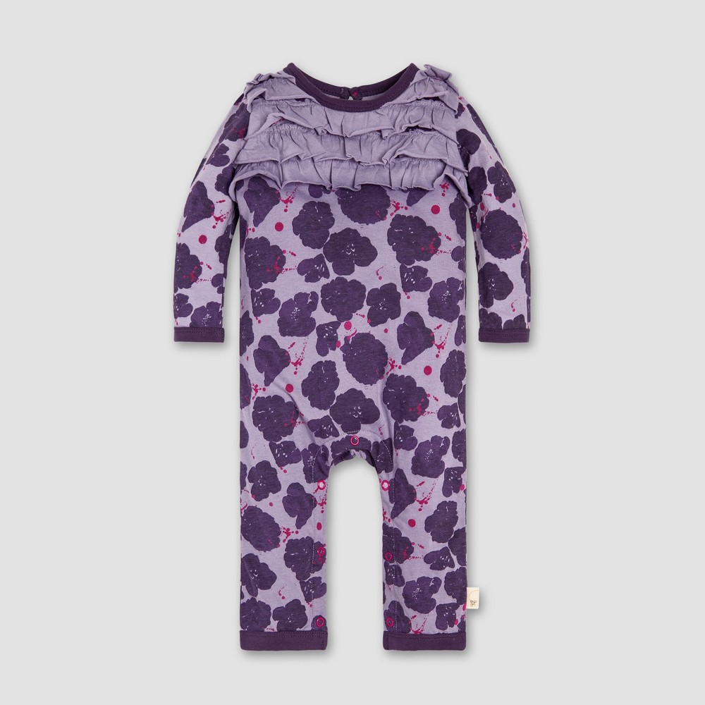 Burt's Bees Baby Baby Girls' Watercolor Poppies Ruffled Floral Coverall - Purple 3-6M