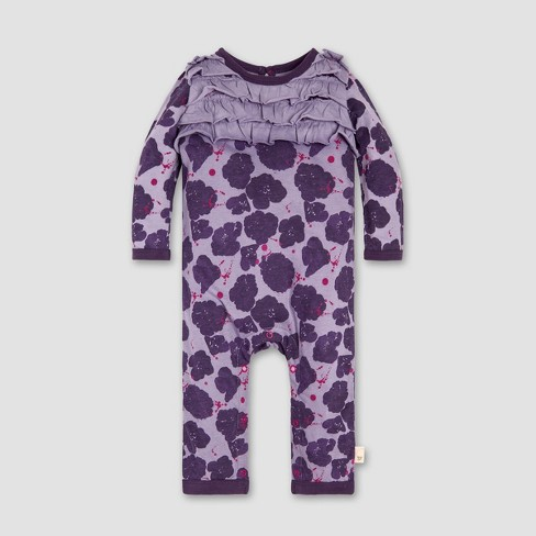Burt's Bees Baby® Baby Girls' Watercolor Poppies Ruffled Coverall - Purple - image 1 of 2