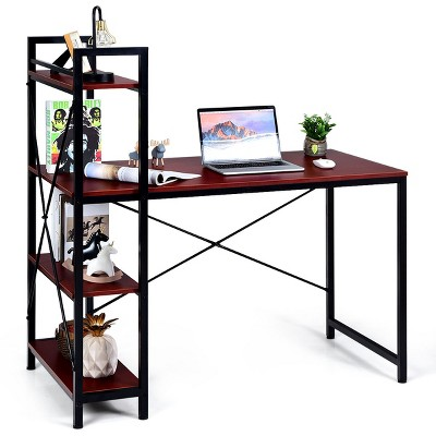 Costway 47.5'' Compact Computer Desk With 4-Tier Storage Bookshelves for Home Office