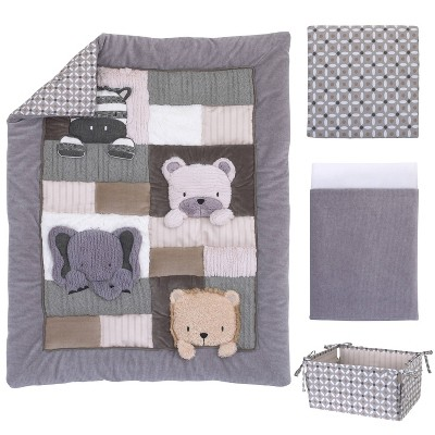 NoJo Play Day Pals Animal Nursery Crib Bedding Set - 4pc