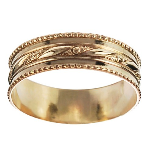 Women's Journee Collection Handcrafted Milgrain Band in Sterling Silver - Gold - image 1 of 2