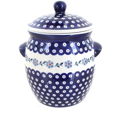 Blue Rose Polish Pottery Blue Violet Cookie Jar