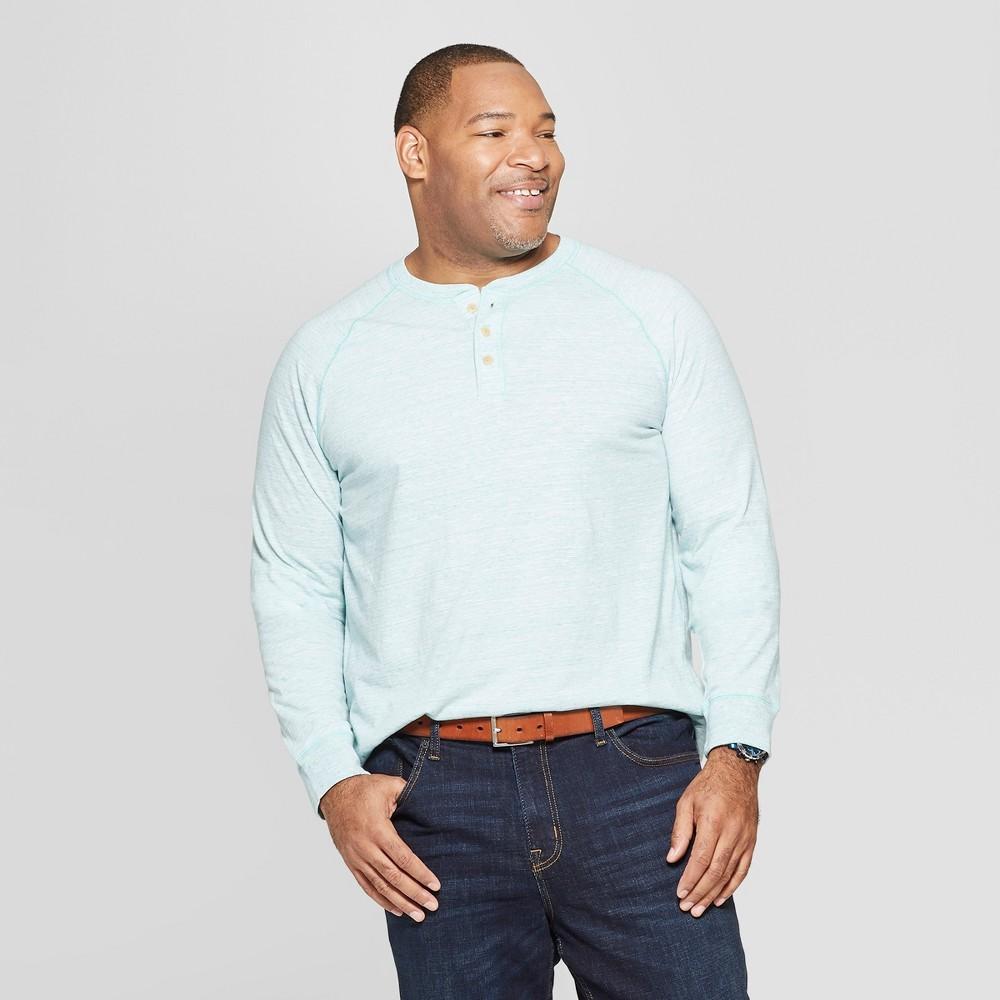 Men's Tall Regular Fit Long Sleeve Jersey Henley Shirt - Goodfellow & Co Bermuda Sea LT