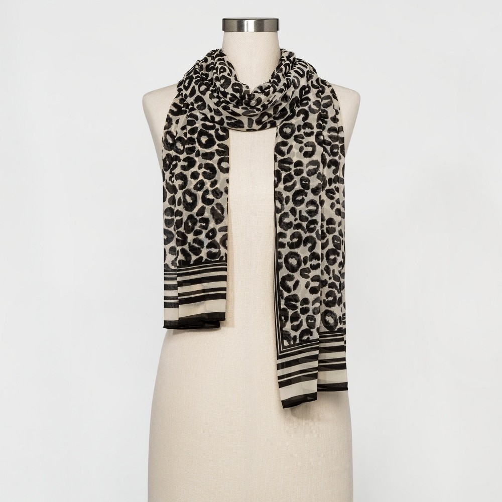 Women's Animal Print Scarf - A New Day Black/Beige
