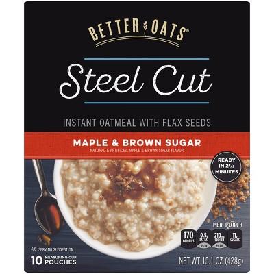 Better Oats Revolution! Steel Cut Oats Maple & Brown Sugar Oatmeal - 10ct