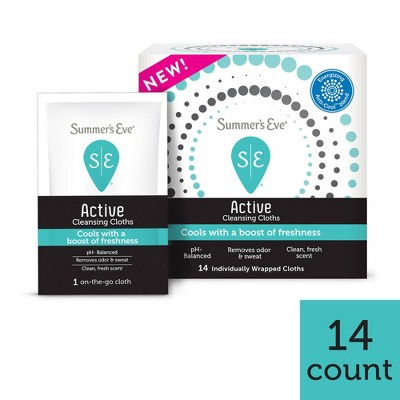 Summer's Eve Active Feminine Cleansing, Cooling & Refreshing Wipes - 14ct